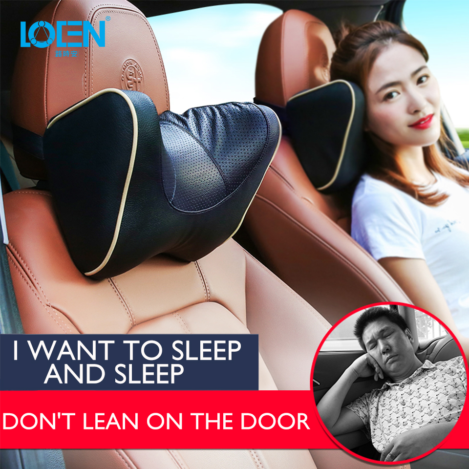 LOEN 1PCS PU Leather Car Neck Pillow Memory Foam Pillow Neck Rest Seat Headrest Cushion Pad 6 Colors U Shape Supported Headrest