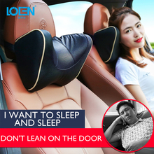 LOEN 1PCS PU Leather Car Neck Pillow Memory Foam Rest Seat Headrest Cushion Pad 6 Colors U Shape Supported