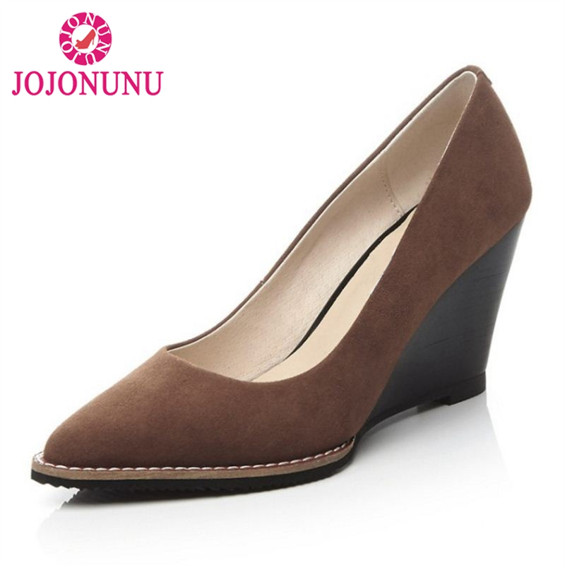 JOJONUN Office Lady Genuine Leather High Wedges Shoes Women Pointed Toe Wedges Pumps Dress Sexy Shoes Women Footwears Size 34-39 high precision co gas analyzer handheld co concentration carbon monoxide meter tester lcd gas detector monitor 0 999 ppm