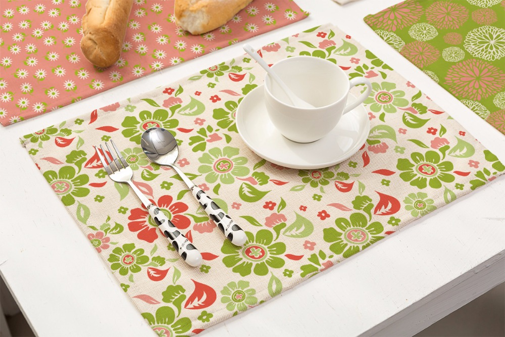 SunnyRain 4/6 Pieces Linen Cotton Florals Plants Table Cloth Placemat Sets Table Decoration Table Runners 42x32cm-in Tablecloths from Home \u0026 Garden on ... & SunnyRain 4/6 Pieces Linen Cotton Florals Plants Table Cloth ...