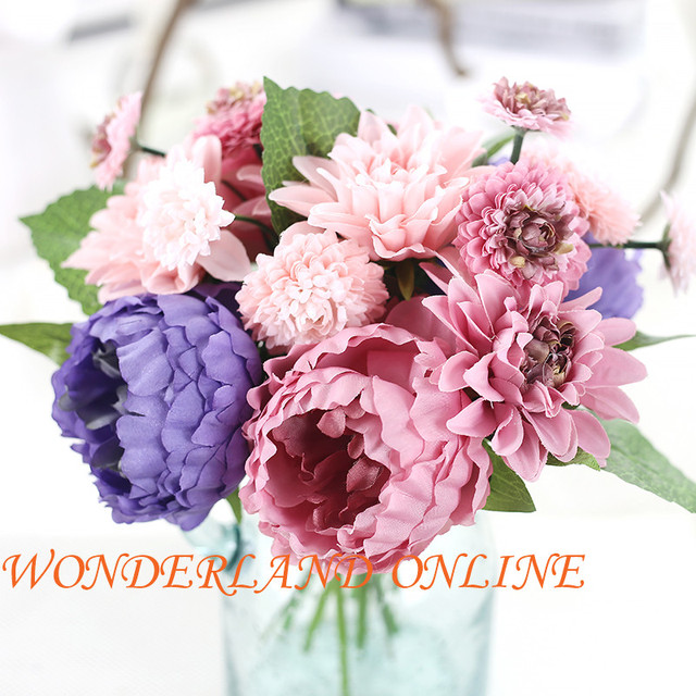 Artificial Silk Wedding Peony Daisy Flowers For DIY Home Decorative Flower Bouquet