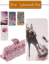 Case For iPhone 6S 6 Art Print PU Leather + Soft Silicon Wallet Cover Case iPhone6 Case ipone6s Coque Fundas Capa Etui