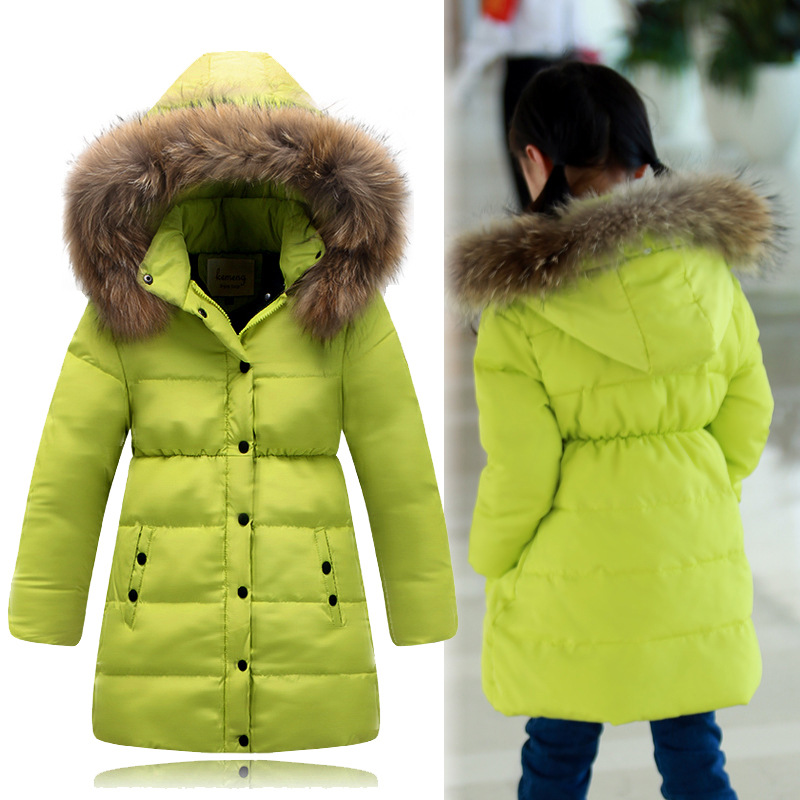 Children Winter Down Jacket For Girls Natural Fur Warm Thick Girls ...