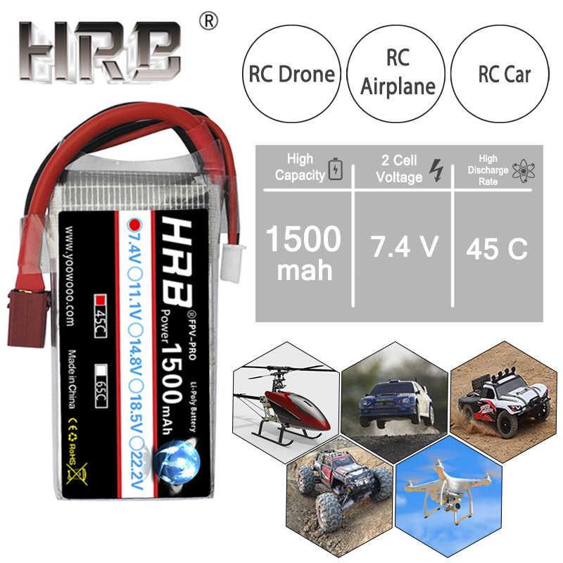 HRB 2 S Lipo Batterij 1500 mah 7.4 V JST XT60 Connectors RC Onderdelen 45C Voor Wltoys 12428 Motorboten Drone buggy Crawler Auto Vliegtuig
