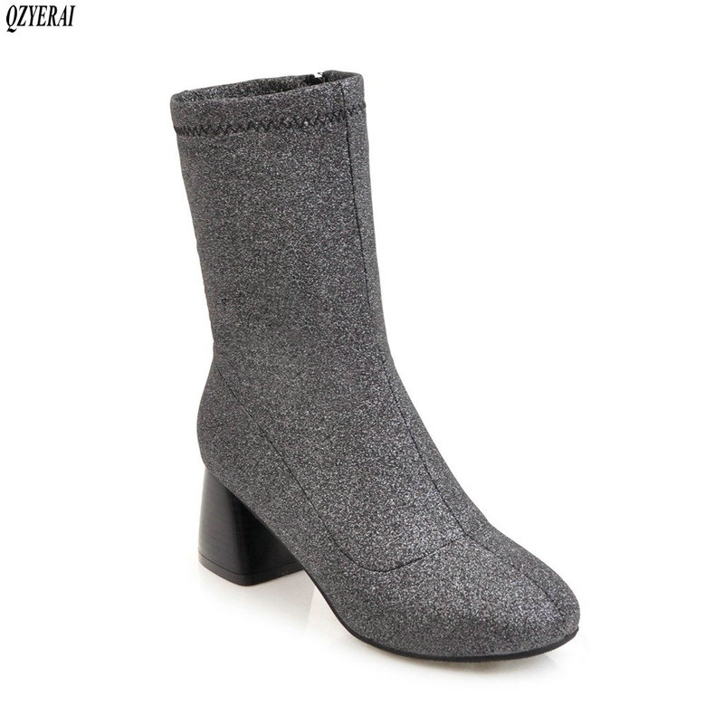 QZYERAI Fall new style high heel lady's pointed PU ankle boots flying fabric Sock boots European style fashion shoes women fashion style