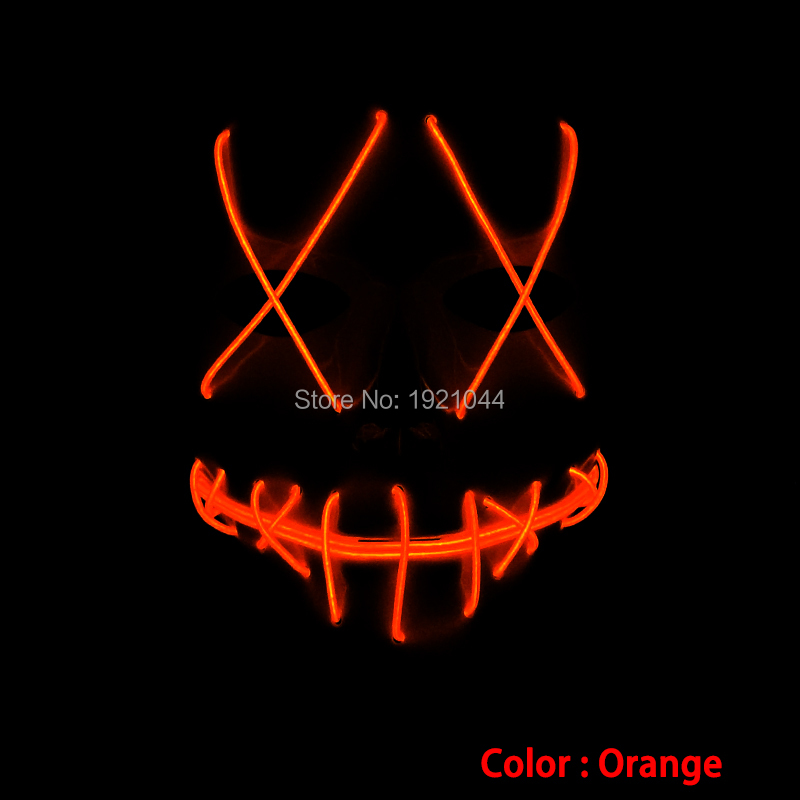 Face Halloween EL Wire Mask Lighting Color Orange EL cable rope Cold light Mask Event Party Supplies