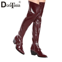 DORATASIA new big size 35-44 chunky heels belt buckle zip pointed toe women shoes woman casual party office over the knee boots