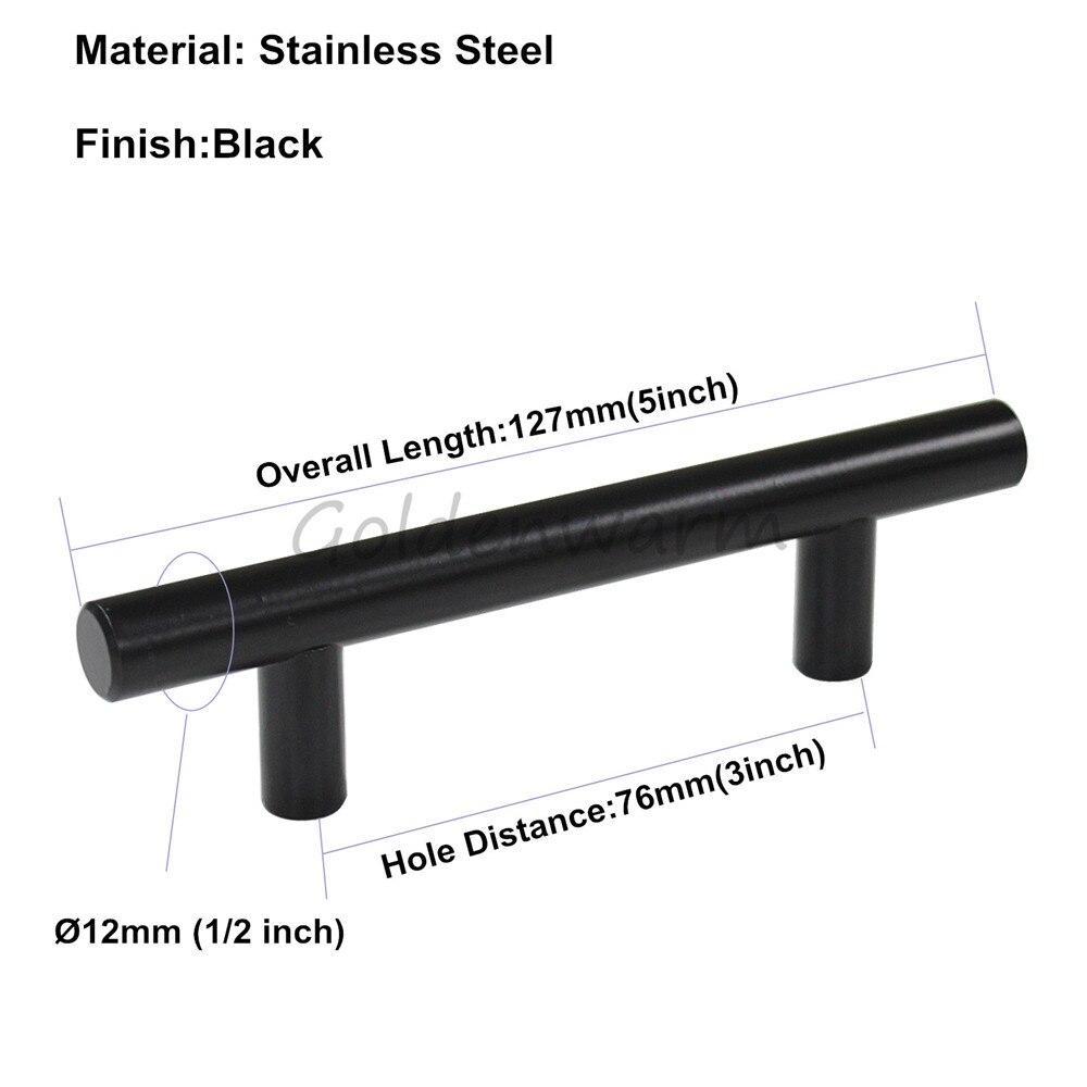 Goldenwarm Muebles maneja acero inoxidable negro diámetro 12mm T bar ...