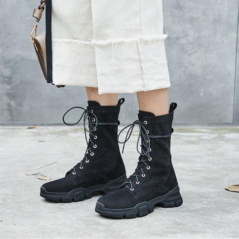 Leather suede Bottes longueur Black Noir Veau Réel Femmes D'hiver Lacent Véritable Suru Cowboy Motorcycly Black pwxPnqFa