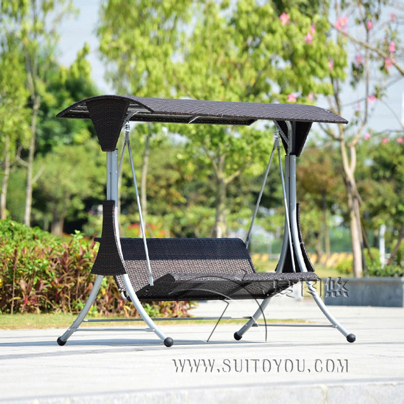 3 Person High Quality Wicker Garden Leisure Swing Chair Outdoor Hammock  Patio Leisure Cover Seat Bench