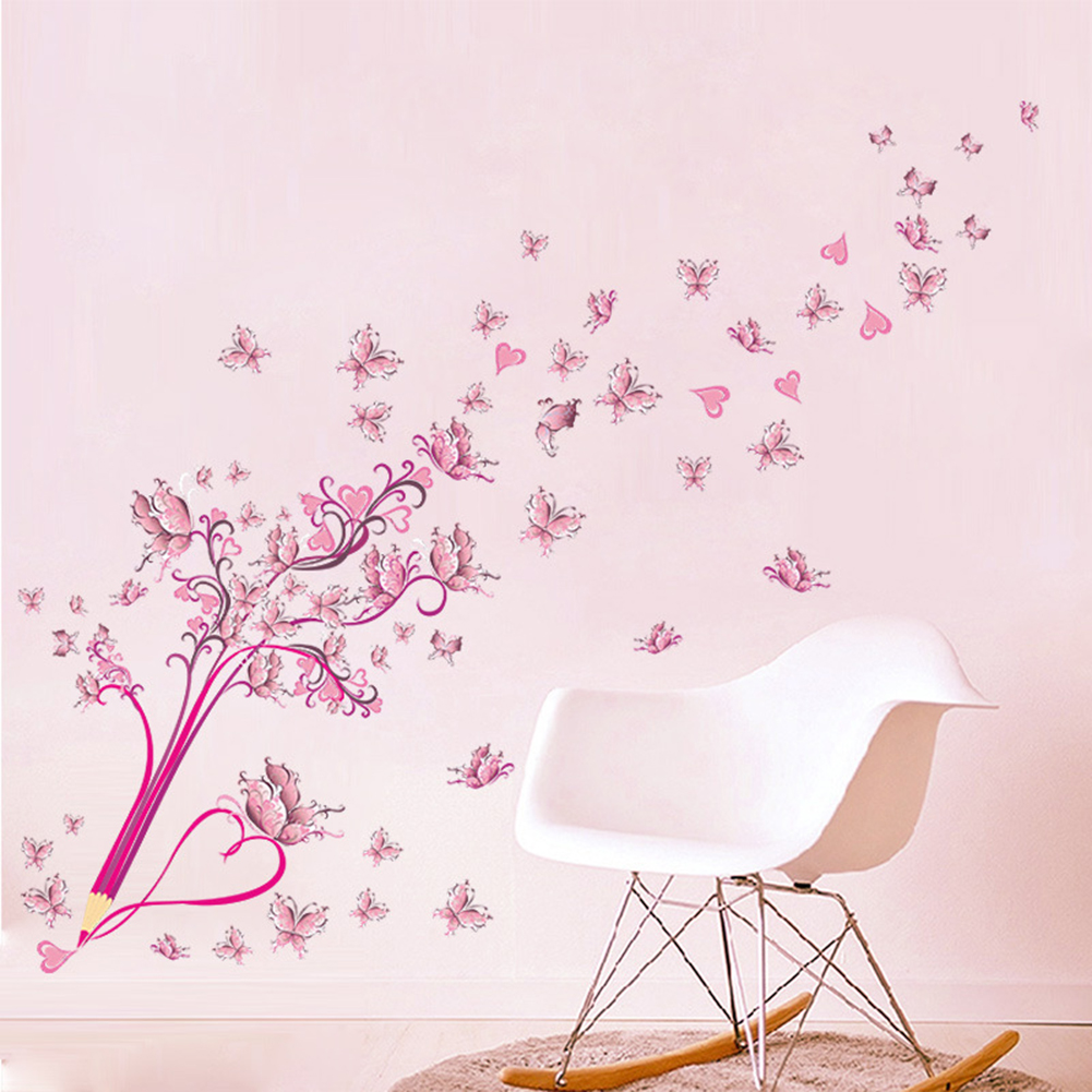 Wall decoration stickers for bedroom - Pink Pencil Butterfly Flower Wall Stickers Bedroom Living Room Wall Decor Antifouling Warm Home Decorating Sticker