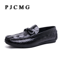 PJCMG Fashion Crocodile Spots Men Loafers Genuine Leather Casual Shoes Men Flats Oxford For Men Moccasin Driving Man Shoes