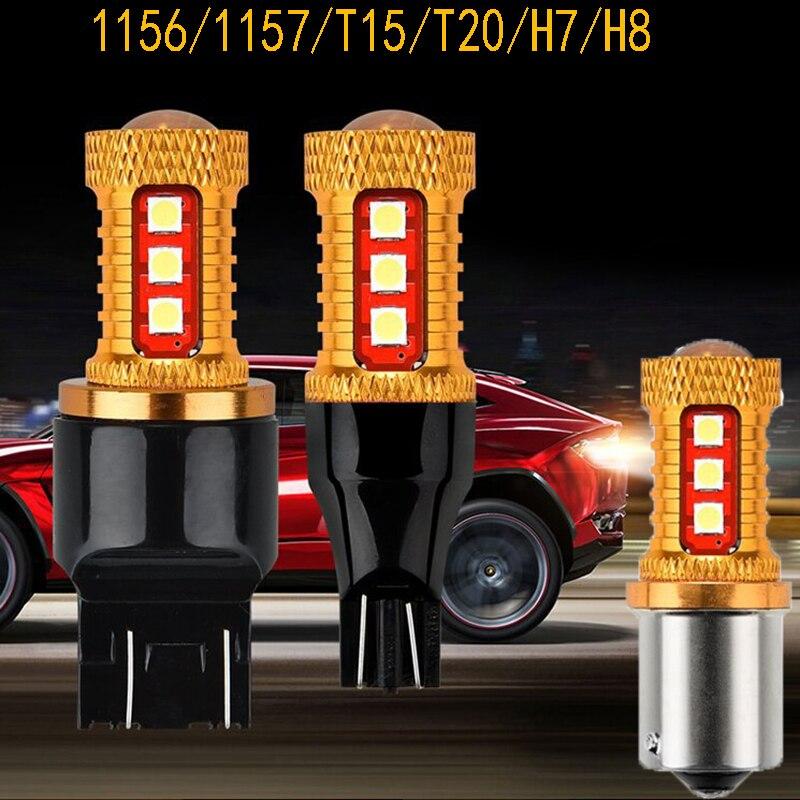 2 Pcs High lumen P21/5W S25 1157 BAY15D 15 SMD 3030 LED Spot T15 T20 7440 7443 1156 BA15S brake Turn signal light Reverse light