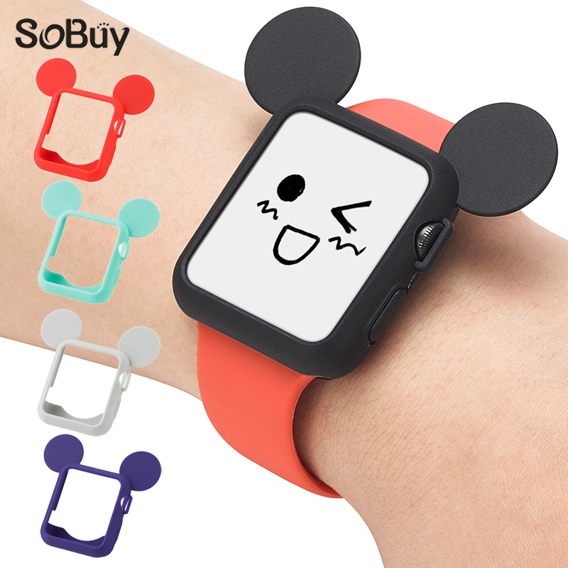 So buy for Apple Watch 1/2/3 sport Series 38mm cute Mickey Silicone Case 42mm Rubber protective shell i watch frame iwatch case cute grasshopper protective silicone back case w suction cup antennas for iphone 4 4s green