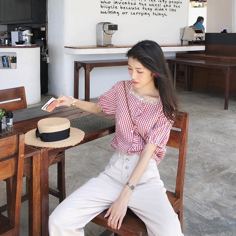 Mishow Plaid Shirt Female 2019 Summer New Korean  Loose Blouses Vintage Short-sleeved Retro Women Tops MX19B4922