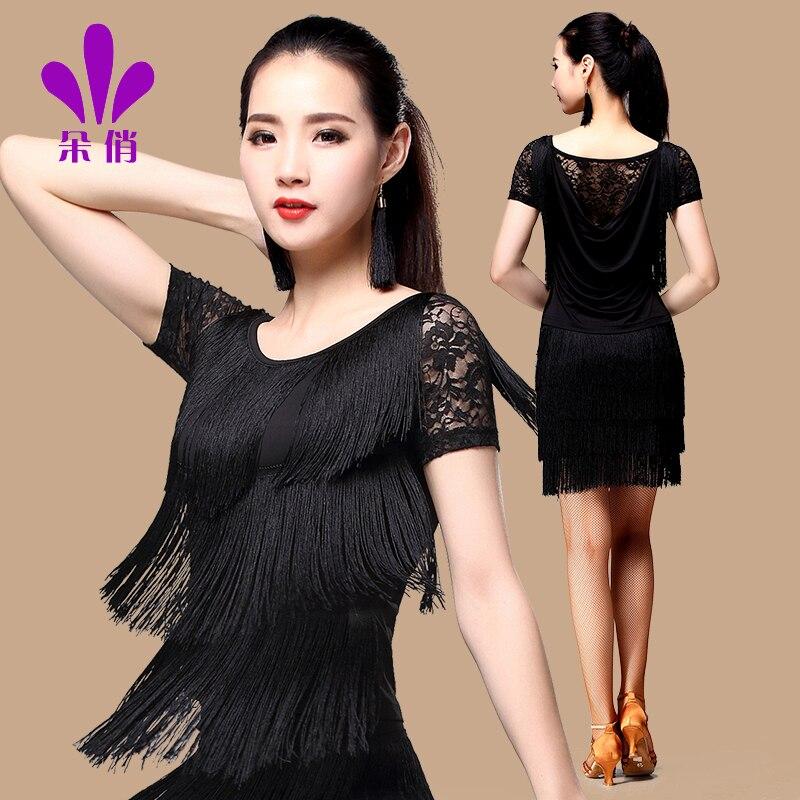Lady Latin Dance Shirt Plus Size Short Sleeve Women Summer Sumba Dance Uniforms Female Adult Lace Tassels Practice Suit B-4334