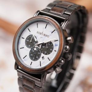 Image 2 - relogio masculino BOBO BIRD Watch Men Luxury Stylish Wood Watches Timepieces Chronograph Military Quartz Mens Gift