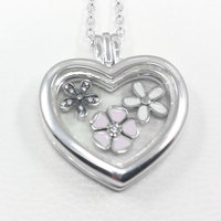 925 Sterling Silver Necklace Poetic Blooms Petites Memories Floating Heart Locket Necklace For Women Wedding Gift