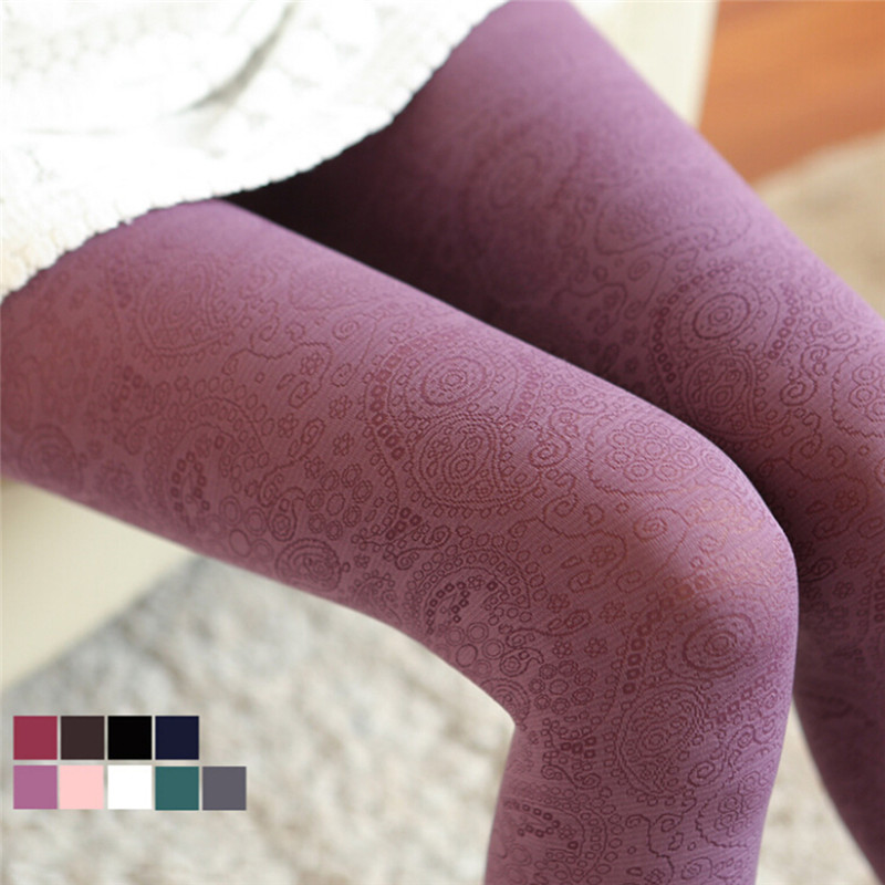 6 Colors Winter Hollow Velvet Tights Burgundy High Elastic Stocking Retro Pantyhose Totem Crave Flower Not Opaque Thicken