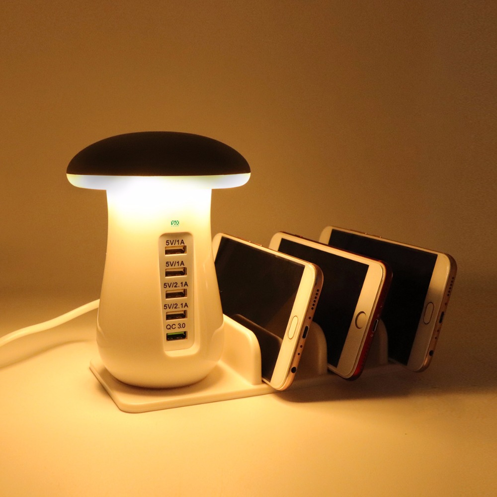 YWXLight Touch Switch Reading Light Desk Light Night Light LED Mushroom Night Light 5 Port Adapter Phone Quick Charge 3.0 USB