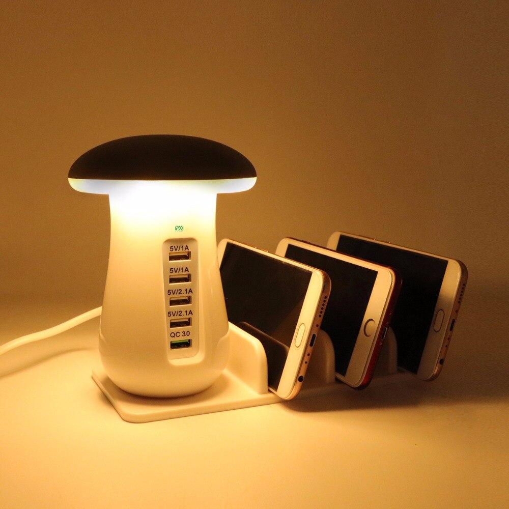 YWXLight Touch Interruttore della lampada di Lettura Luce Scrivania Luce Luce di Notte HA CONDOTTO LA Luce di Notte del Fungo 5 Porta Adattatore Del Telefono di Ricarica Rapida 3.0 USB