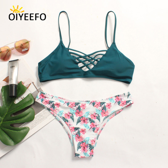d7b6e00efb24f Oiyeefo Green Top and Floral Bikini Set Mix and Match Swimsuit Plus Size  Swimwear Female XL Women Beach May Bahters Swim Suits
