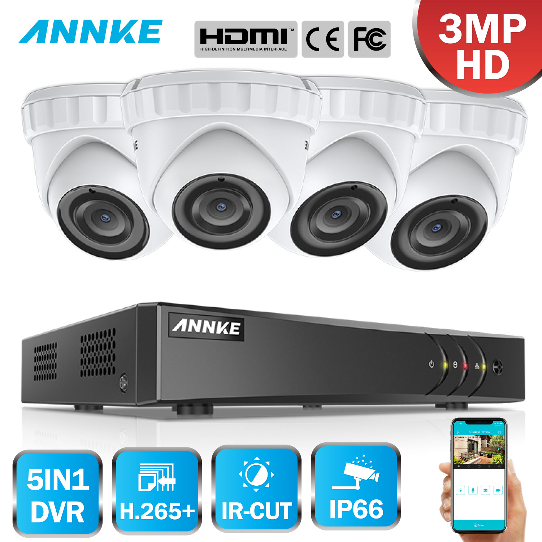 Annke 8ch 3mp 5in1 cctv dvr hd 4 pçs 2048*1536 3mp tvi câmera de segurança ao ar livre dome câmera casa sistema vigilância de vídeo kit