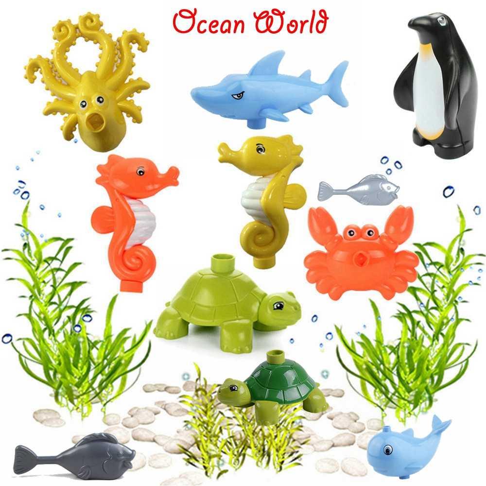 Legoing Duplo โลกใต้น้ำปราสาทฉลามปลาโลมาปูปลาวาฬเต่าทะเล Ocean ตัวเลขสัตว์บล็อกผู้สร้าง Legoinges
