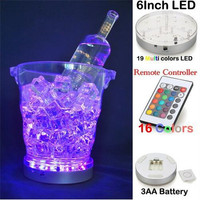 DHL Free Shipping 40pcs Lot 6 Rechargeable 3AA Battery Multicolors LED Light Base Wedding Decoration Under