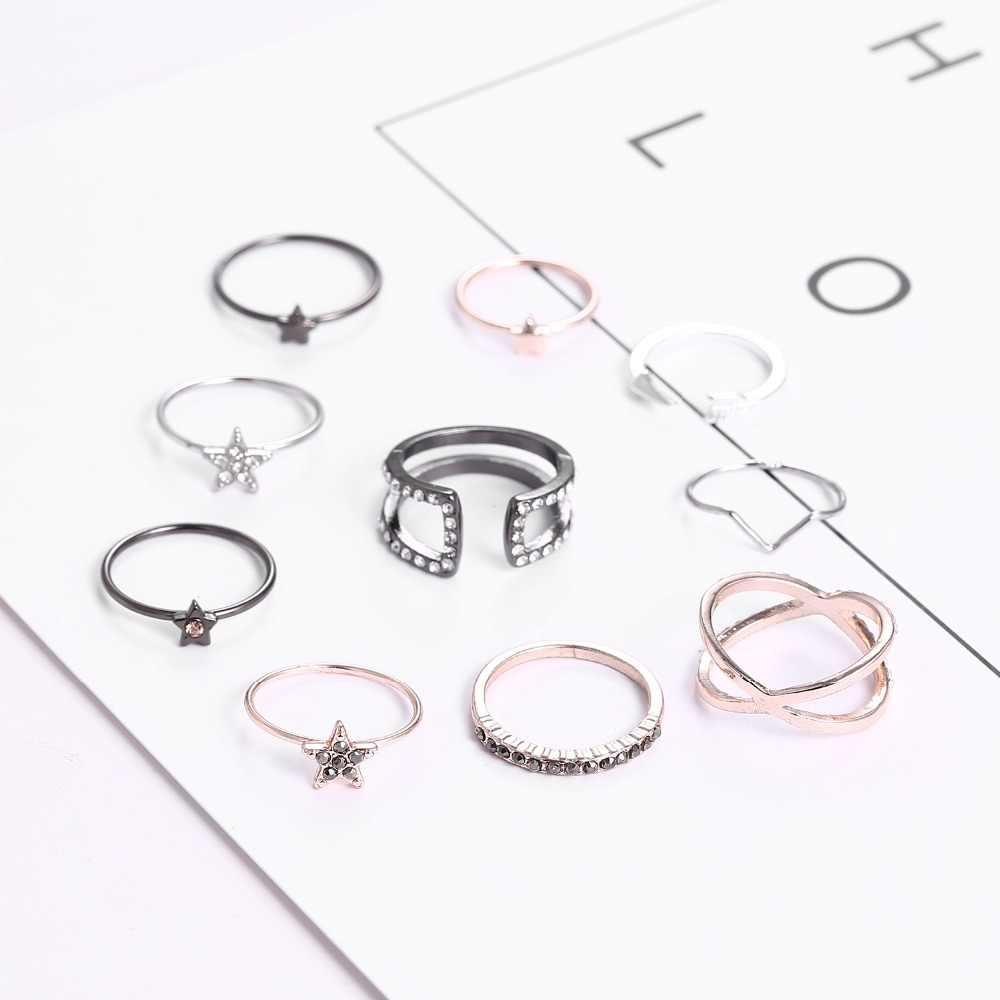 10 יח'\סט עתיק זהב כסף כוכבים חץ קריסטל טבעת Knuckle טבעת נישואים סט Steampunk Anillos אנל טבעות תכשיטים