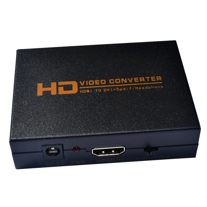 1080P HD Video HDMI to DVI Coaxial Audio Converter Adapter Box For PS4 Xbox1