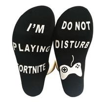 "Men/Women cotton Socks street hip hop socks Unisex bottom with funny words ""IAM playing fortnite, DON'T DISTURB"""