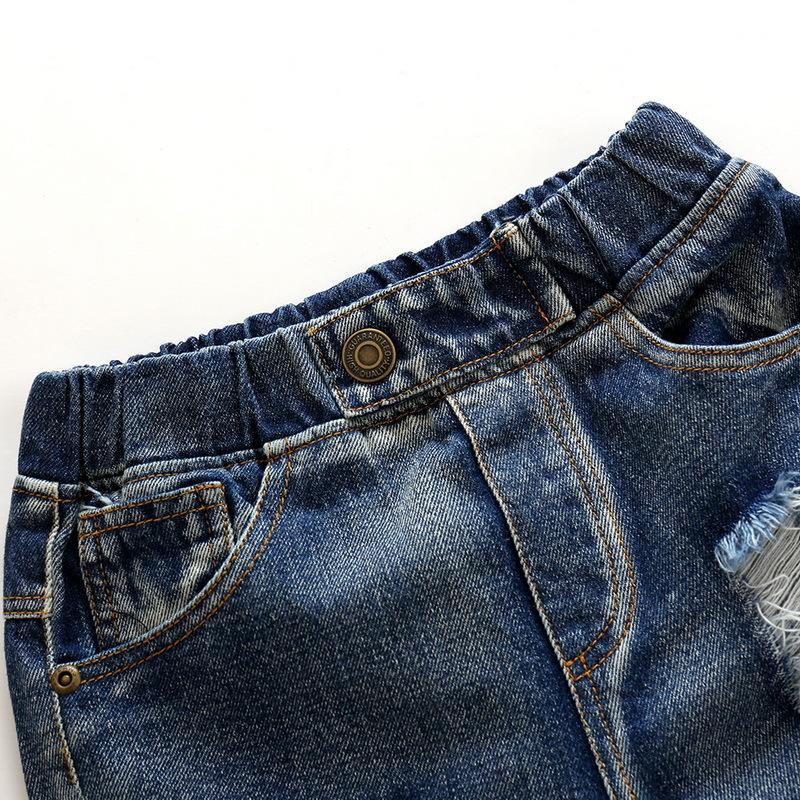 Hole Jeans For Boys Elastic Waist Kids Denim Trousers Kids Cowboy Harem Pants Solid Boy Jeans 2017 Spring Children Jeans 2-6 Y  (7)