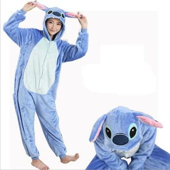 Women Character Stitch Pajamas Set Adult Coral Fleece Sleepwear Animal Pajama Womens Full Sleeve Hooded Pijama Flannel Pijamas figurine