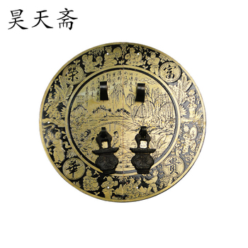 [Haotian vegetarian] Chinese antique copper fittings copper door handle small numbers HTB-148 diameter 18CM