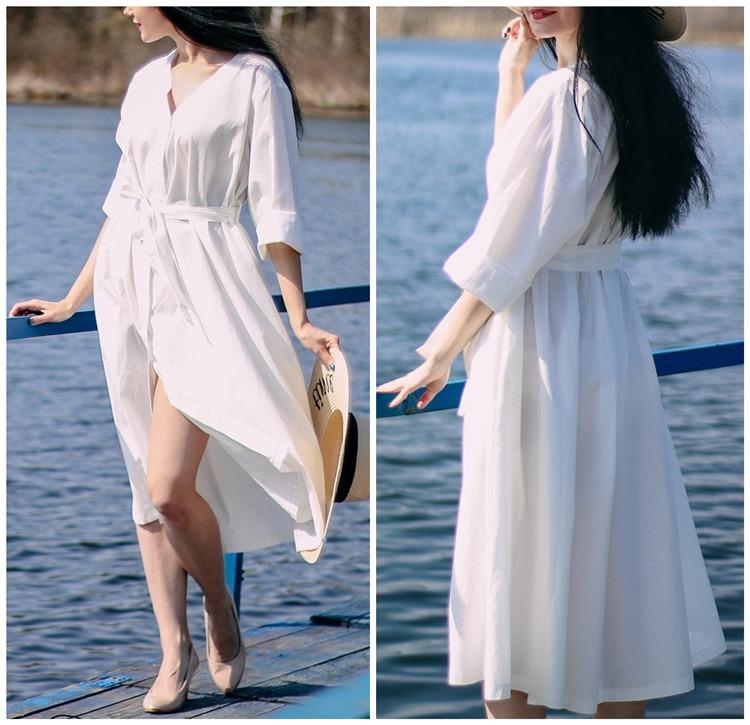 New Women Dresses Spring Summer Cotton Linen Elegant Ladies Pleated Long White Dresses V Neck Lace Up Bow Prairie Chic white