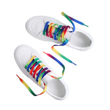 Colorful shoelace white canvas shoes color gradient rainbow red yellow blue green multicolored colorful shoelaces(China)
