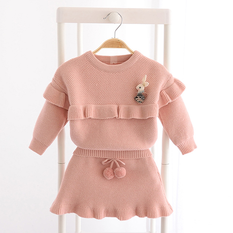 Kids Knit Suit Warm Baby Girl Clothes Set Knitted Sweater Suit Pullover Sweater + Knit Skirt Two Piece Set Children Clothing Set