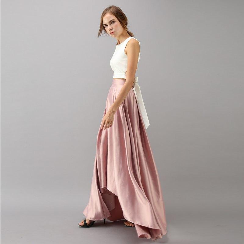 Vintage Rose Pink High Low Satin Long Skirts For Women Zipper Custom Made Female Skirt High