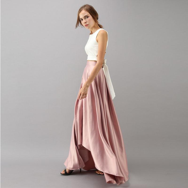 Vintage Rose Pink High Low Satin Long Skirts For Women Zipper Custom Made Female Skirt High Quality Female Bottom Saia Longa-in Skirts from Women's Clothing    1