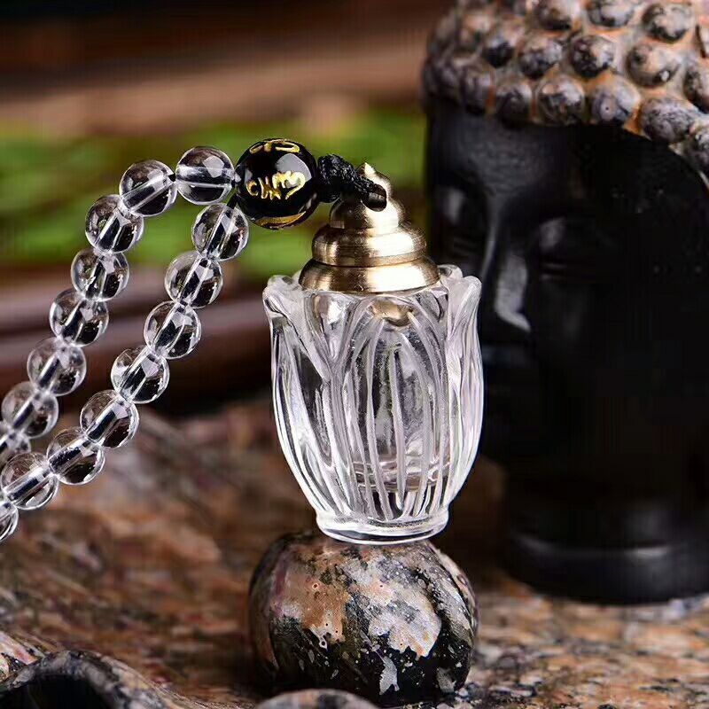Wholesale White Natural Crystal Pendant Hand Carved Wishing Bottle Pendant Sweater Chain Necklace Lucky for Women Men Jewelry rosenberg 7689 b