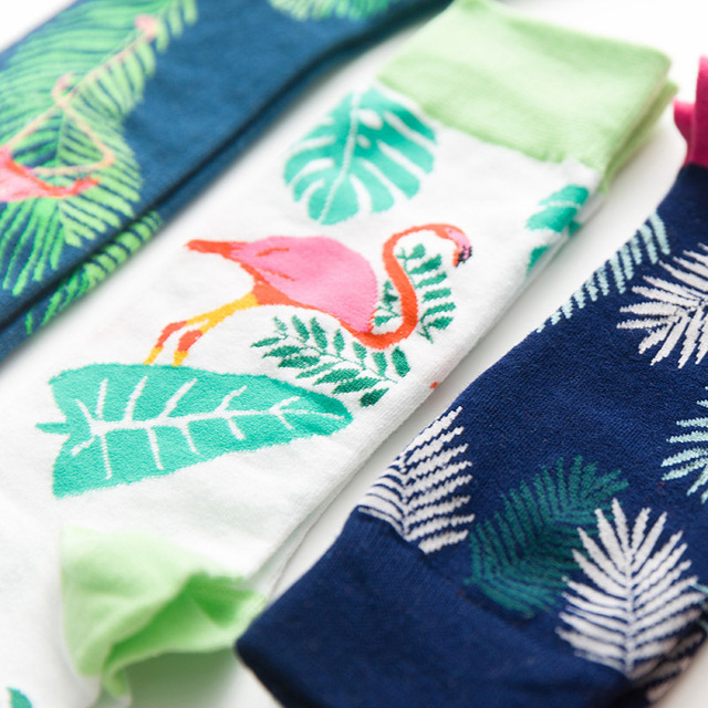 1Pair New Men Flamingo Print Vintage Socks Autumn Winter Europe Large Size 41-46 Personality Casual Comfortable Crew Socks
