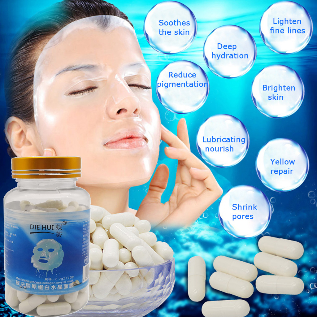 100 Pills Capsules Mask Membrane Process Collagen Crystal Mask Capsule Collagen Moisturizing Acne DIY Mask Brighten Skin Beauty