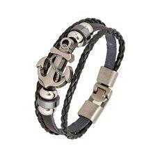 2017 New Vintage Anchor Shape Beads Handmade Woven Elegant Leather Bracelet Charm Bangle For Women Men