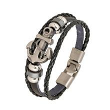 2017 New Vintage Anchor Shape Beads Handmade Woven Elegant font b Leather b font font b
