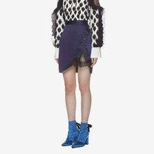 Новые женские юбки кружевные лоскутные пуговицы Сексуальная Сплит мини юбка Летняя женская одежда в стиле милитари юбки высокого качества