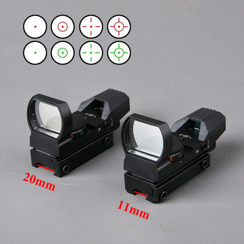 Equipo táctico Riflescope con escope11 20mm riel Airsoft Red Dot holográfico Reflex 4 retícula rojo verde punto vista para Riflescopes