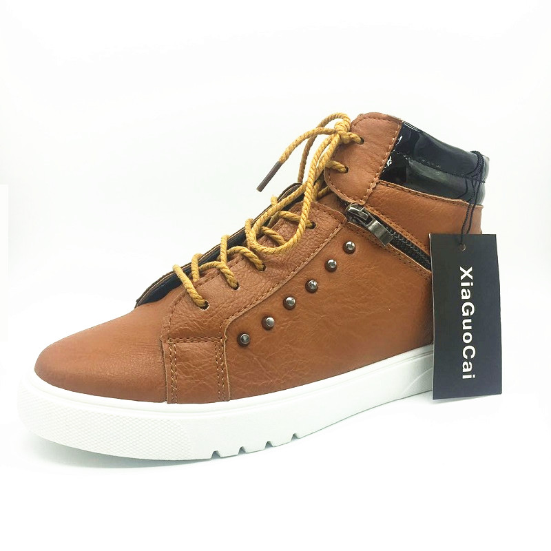 XiaGuoCai Man Casual PU Boots Ankle Zipper Lace-Up Round Toe flat Korean cozy Non-slip high quality Wild Stylish fashion YC452 (5)