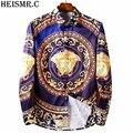 2016 Men's Shirts Men Luxurious Tuxedo Shirt Mens Fashion Printing Casual Shirt Male Long Sleeve Brand Dress Shirts AZ106