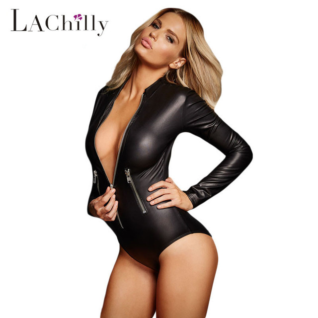 d1852a86b6 Sexy Ladies Black Leathery Long Sleeve Zip Detail Bodysuit Teddies Lingerie  Nightwear erotic Chemise Underwear Plus size LC3259